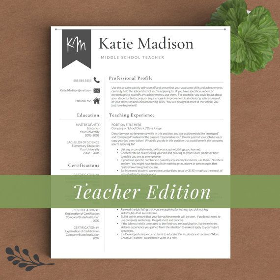 Teacher Resume Template for Word & Pages 1 2 by TheTemplateStudio