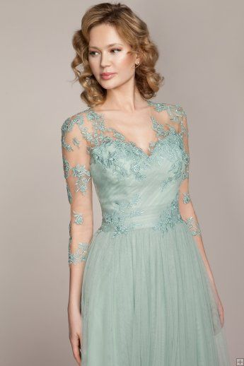 V Neck Illusion 3/4 Sleeves Column Tulle Bridesmaid Dress