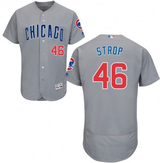 Men's Chicago Cubs Pedro Strop Majestic alternate away gray Flex Base jersey