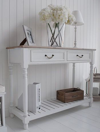 White hall table with shelf and drawers for French coastal design in decorating
