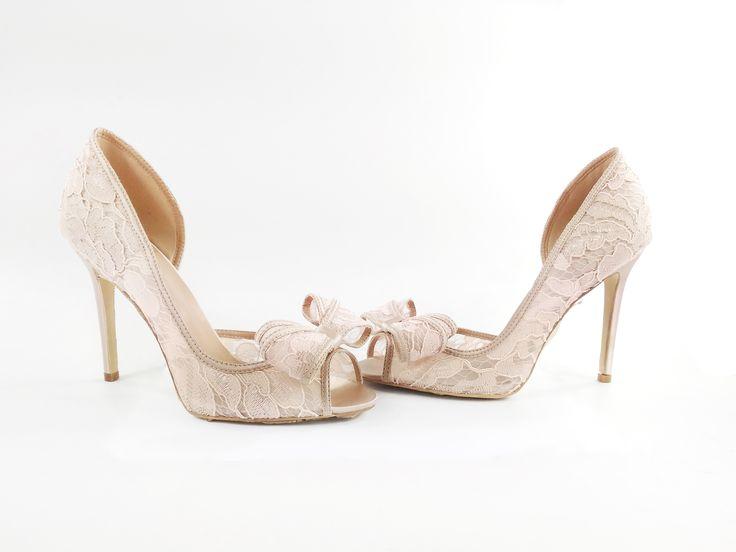 Lace Wedding Peep Toe! #oparishoes #laceweddingshoes #lacewithbow #weddingshoe #shoewithbow