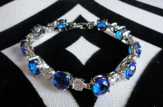 Vintage Blue and White Faceted Stone Tennis by AuntieLindasAttic, $18.99
