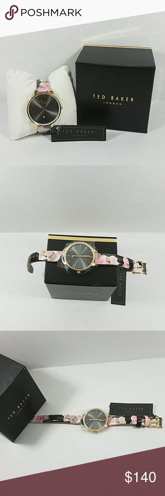 Ted Baker London WATCH Ted Baker Black / Florar Print Leather Analog Quartz Women's Watch Ted Baker London Accessories Watches