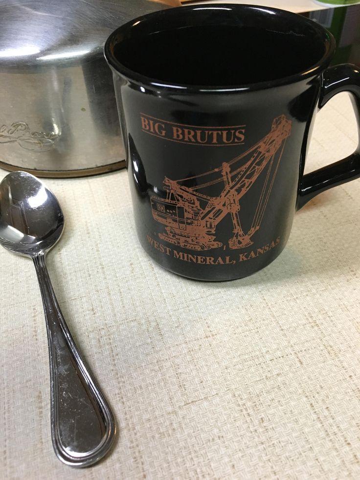 Big Brutus West Mineral Kansas 30th birthday souvenir vintage ceramic mug by FlowerChildTrends on Etsy