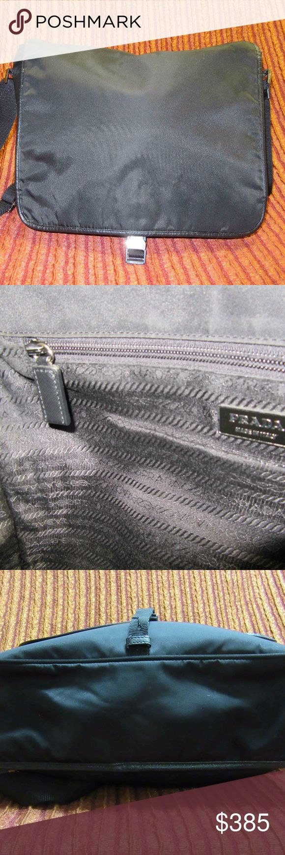 Prada Black Messenger Bag Prada Black microfiber messenger bag, amazing size and practical as an everyday bag. Rear outer pocket for extra storage. Gently used, in excellent condition. Bags Shoulder Bags