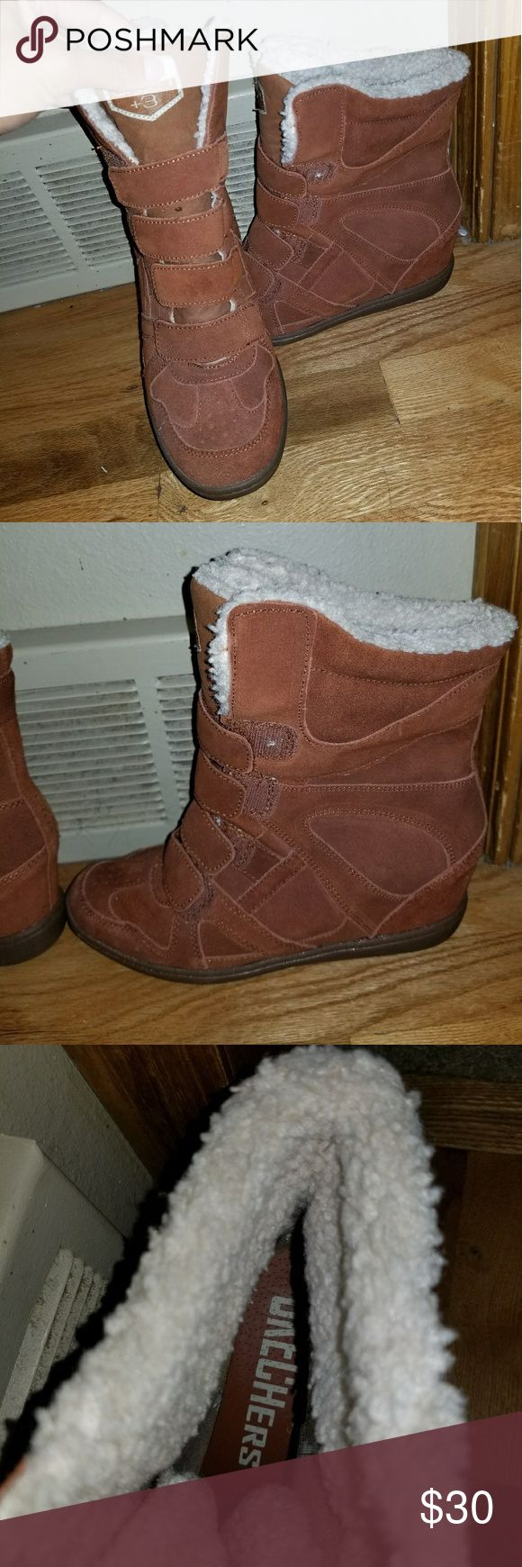 Skechers Wedge Sneaker Super cute, only worn once. Skechers Shoes Sneakers