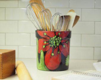 Cocina utensilio titular utensilio vasija cerámica utensilios titular XL utensilio titular cerámica Amapola Roja Floral regalo para regalo de anfitriona para novia RP