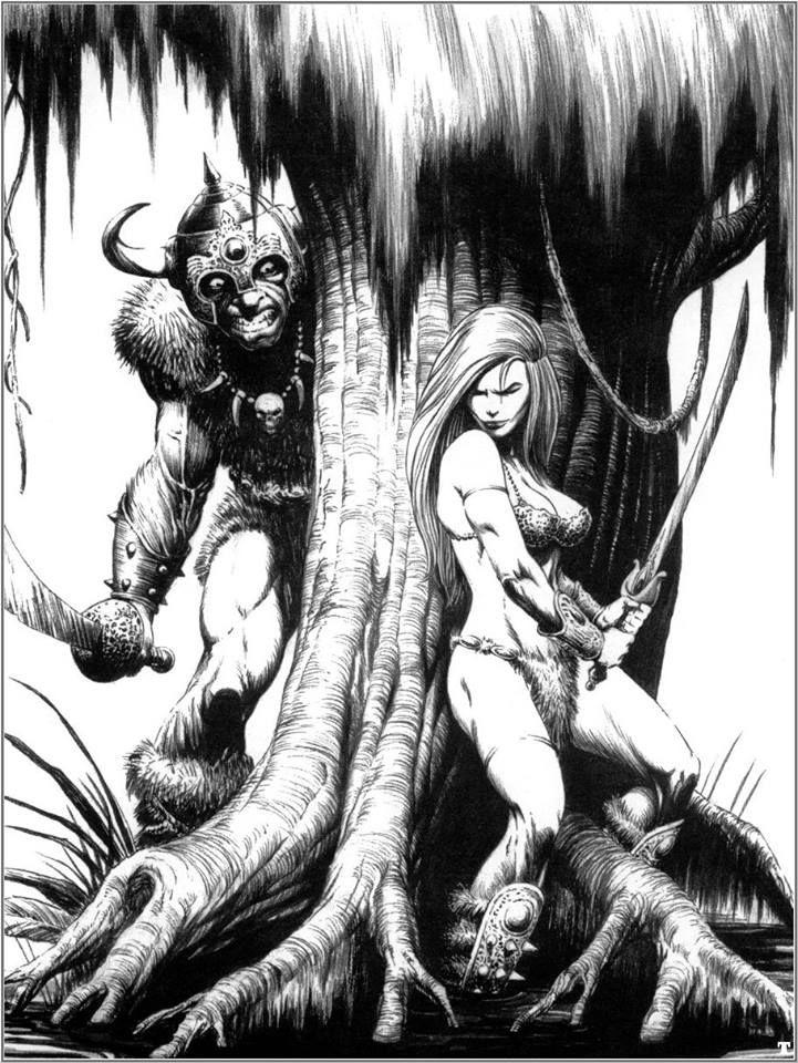 Darren goodacre · barbariancomic artcomic bookred sonjablack white