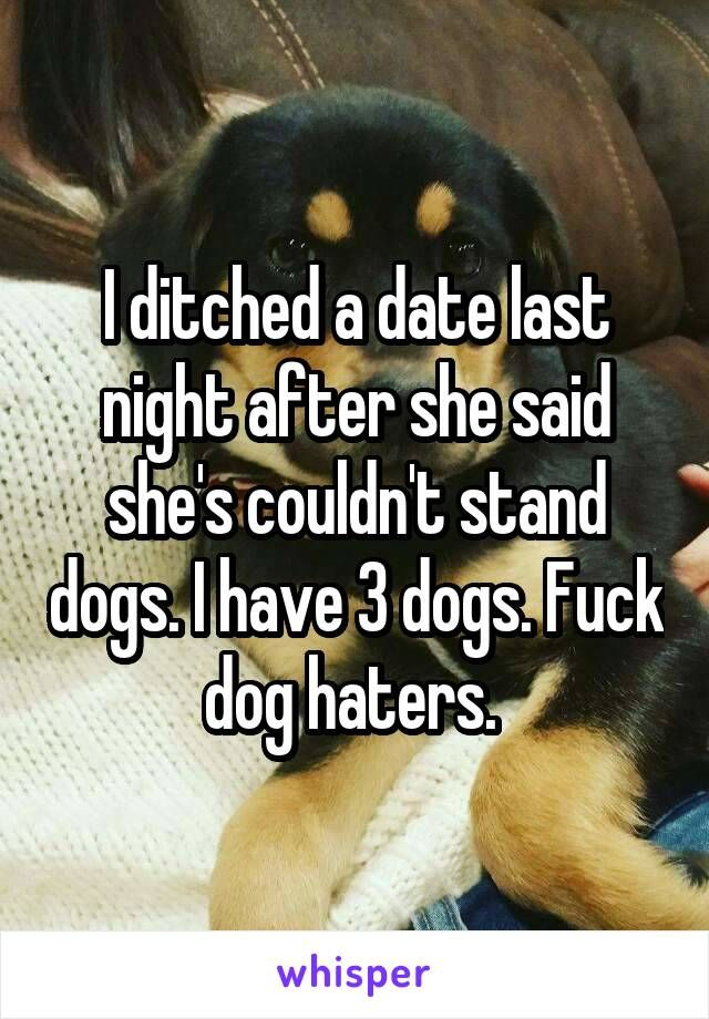 I ditched a date last night after she said she's couldn't stand dogs. I have 3 dogs. Fuck dog haters.