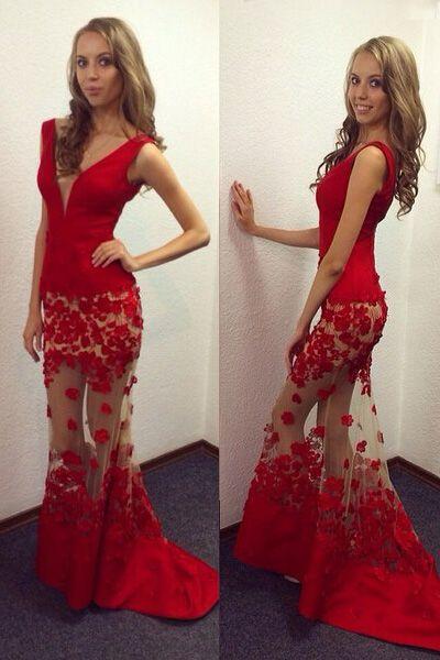 red prom dress low cut prom dress mermaid prom dress