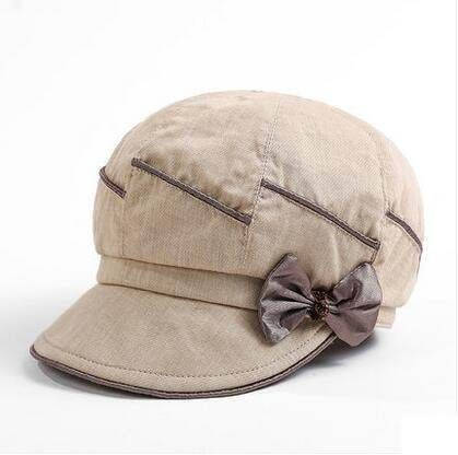 Elegant newsboy cap with bow decoration for women UV protection sun hats