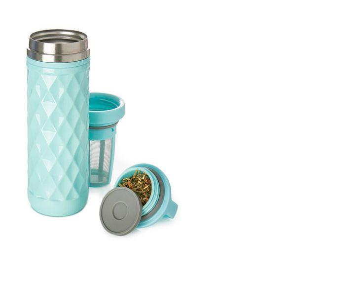 Soft Blue Carry Travel Mug