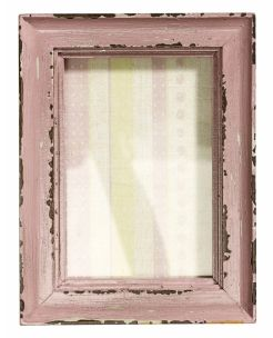 Pink Frame. Wood picture frame, distressed effect. Hanging or standing.