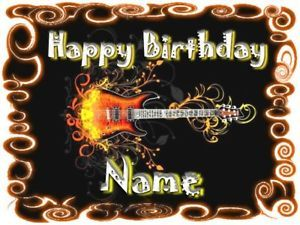Guitar Edible Cake Toppers   Details about EDIBLE CAKE IMAGE GUITAR FLAMES PARTY BIRTHDAY TOPPER