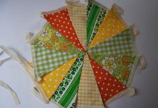 vlaggenlijn retro geel/groen/oranje, het Vrolijke Nest