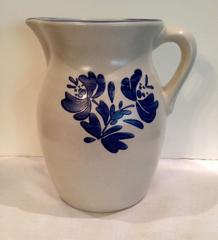 Pfaltzgraff Yorktowne Pitcher, Gray And Blue Flowers