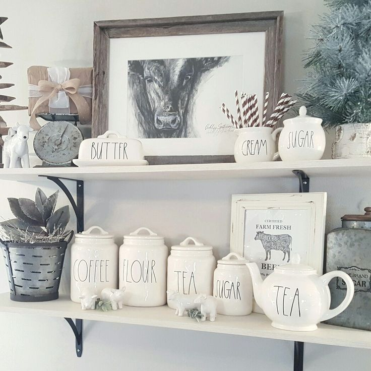 Opening shelving. Rae Dunn pottery! Farmhouse decor by @blessed_ranch
