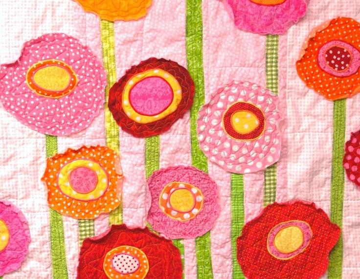 poppy baby quilt wall art quilt Poppy Garden by moonspiritstudios
