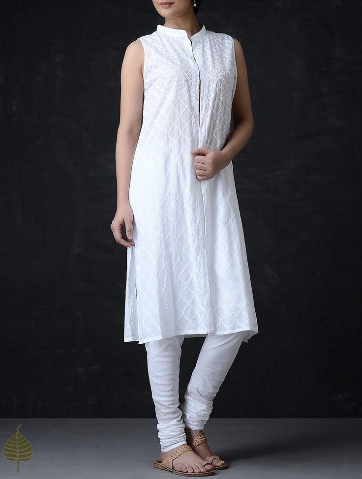 Buy White Chikankari Mandarin Collar Cotton Jacket Women Jackets Summer Celebration Natural dyed Dabu printed dupattas and apparel Online at Jaypore.com