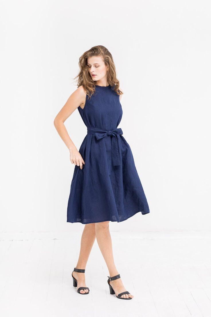 Not Gilty - The Adele linen dress (dark blue)