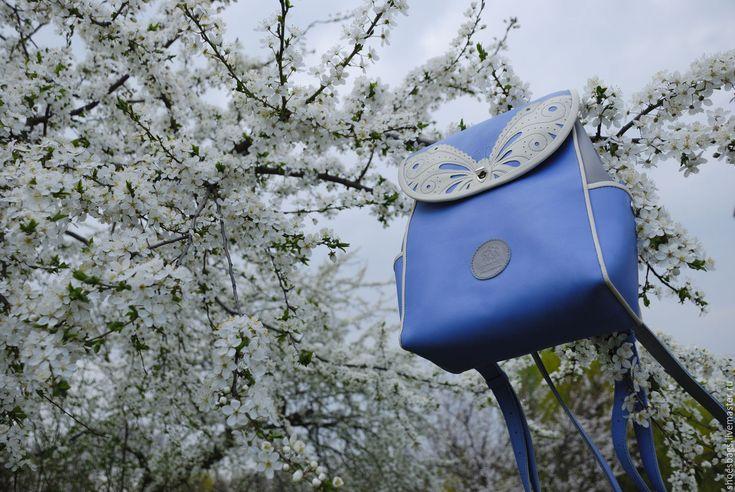 """Купить Рюкзак """"Дыхание весны"""" - голубой, бабочка, перфорация, аппликация из кожи, нежная гамма"""