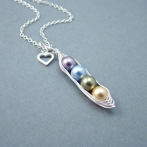 "Custom Birthstone ""Peas in a Pod"" Necklace. Can have as many or as little ""peas"" as needed. Cute!"