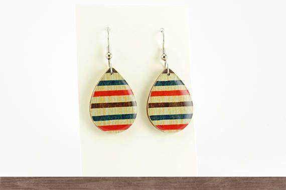 Surgical steel wooden earrings, Striped earrings, Teardrop, Vintage Japanese Chiyogami, Statement earrings, Casual jewelry, Hypoallergenic