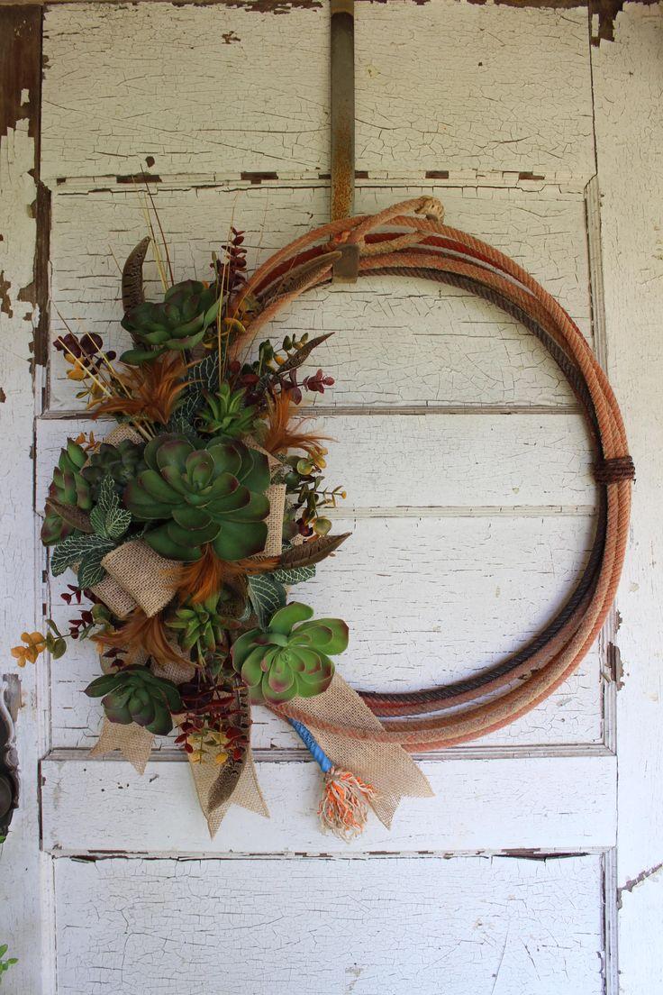 Western Succulent Wreath, Rope Wreath, Succulents, Feathers, Country, Western Decor, Succulent Wreath, Cactus, Lasso Wreath, Cowboy Decor by GypsyFarmGirl on Etsy