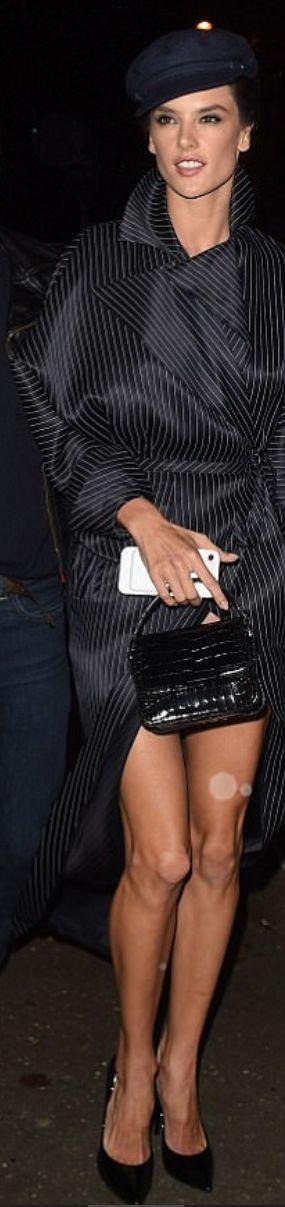 Who made Alessandra Ambrosio's black stripe coat?