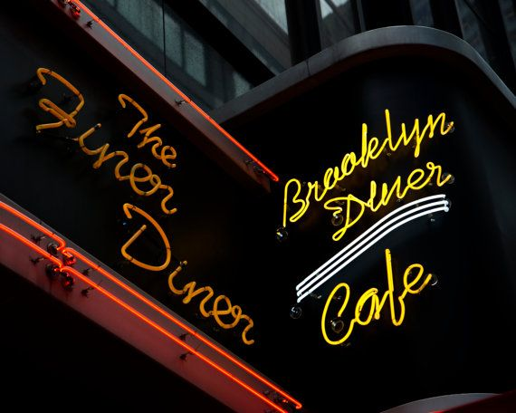 New York City Photography, Manhattan Photography, Diner Photo, Diner Sign, Brooklyn Diner, Cafe Sign, Neon Sign, Travel Photo, Kitchen Decor
