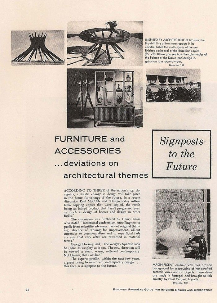Here is a page from a 1960 american magazine showing concerns about what are the next Design trends. At the down right corner you can see a note about the SECLA exhibition at The Architectural League of New York.