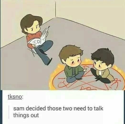 """This is actually really cute and kinda sweet but I do hope they do this I'm the show and there's a lot of yelling and fighting and it ends with Cas just quietly saying, """"I'm sorry I couldn't save you Dean."""" And we all die"""