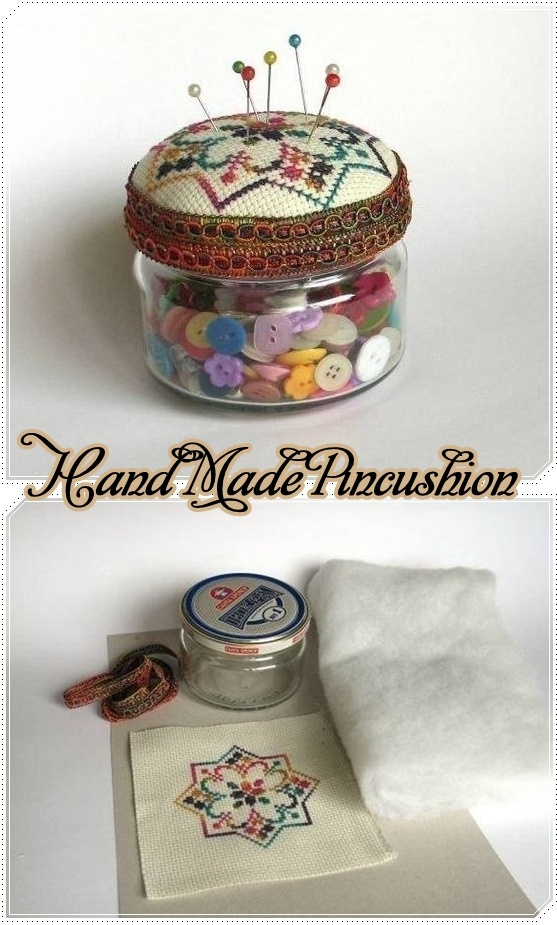 Simple Hand Made Pincushion.  I made jars like this one Christmas, counted cross stitch, padded lid, and filled with homemade mints.  It never crossed my mind to make a pincushion out of it..lol