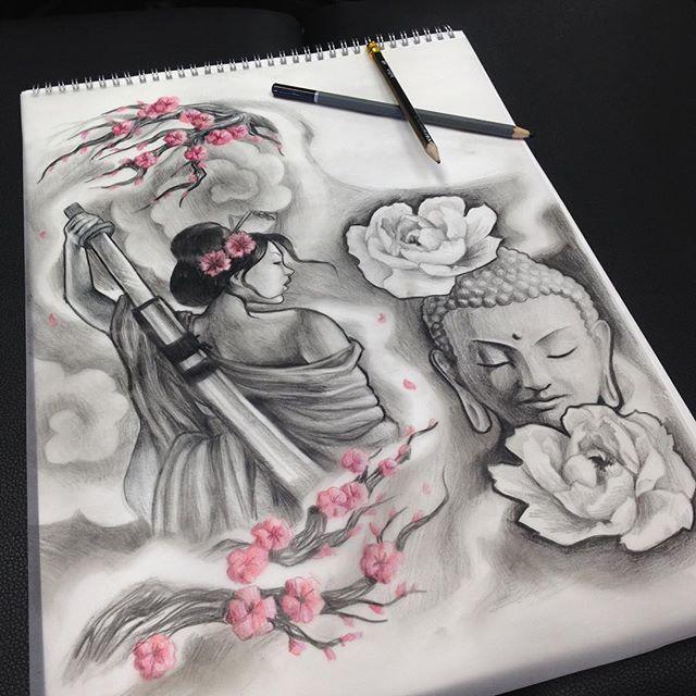【leahgaytontattoos】さんのInstagramをピンしています。 《Half sleeve design. #CANTWAIT !! #warrior #geisha #buddha #japanese #asian #cherryblossoms #blackandgrey #tattoodesign #instaddict #artnerd #artgeek #drawing》