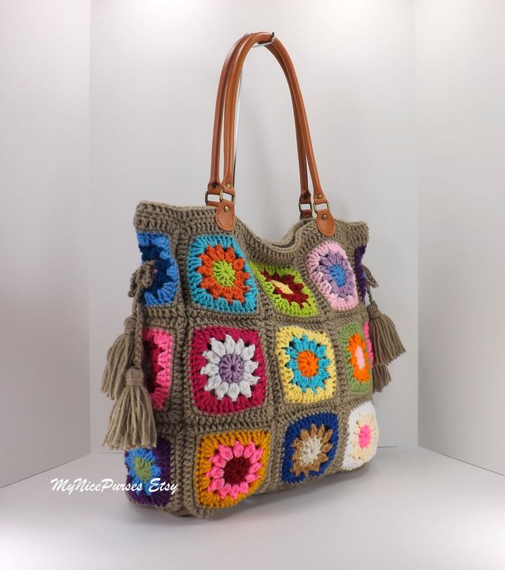 Crochet granny squares handbag with tassels and by MyNicePurses
