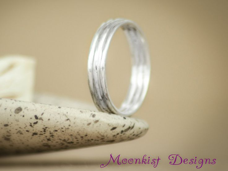Awesome Narrow Smooth Layered Wedding Band in Sterling Silver Unisex Simple Stacked Commitment Ring Handmade