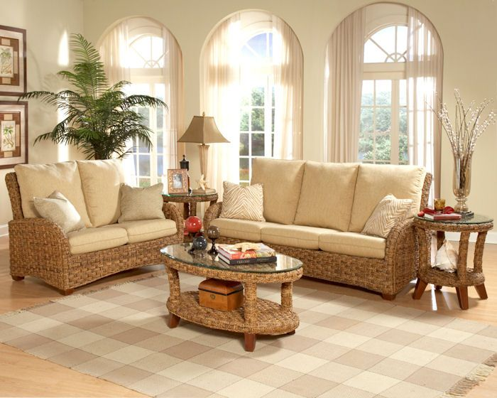 Martinique furniture set wood and wicker are complementing for Wicker living room furniture