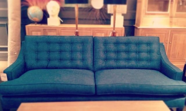 Janet's pick: The Barlow Sofa though reminiscent of the Mad Men era, is updated for today with the luscious teal fabric. $1750.  Available in hundreds of other fabric options. www.cornerstonefurniture.ca