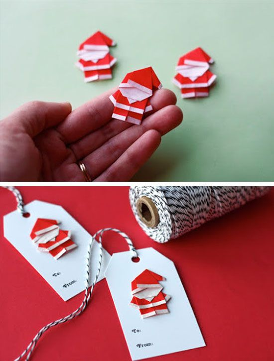 Make Origami Santas for Gift Tags and Ornaments | Click for 28 Easy DIY Christmas Decorations for Home | Easy DIY Christmas Ornaments Homemade