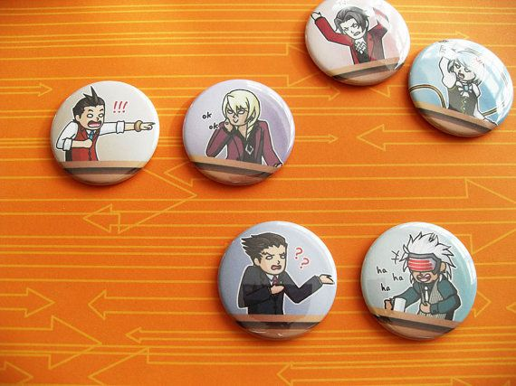 Ace Attorney video game pinback buttons by SliceofOrange on Etsy, $2.00
