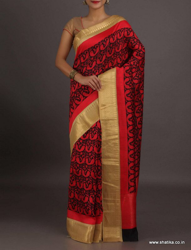 Sugandha Bold Red And Black Design With Gold Border #Georgettesilksaree