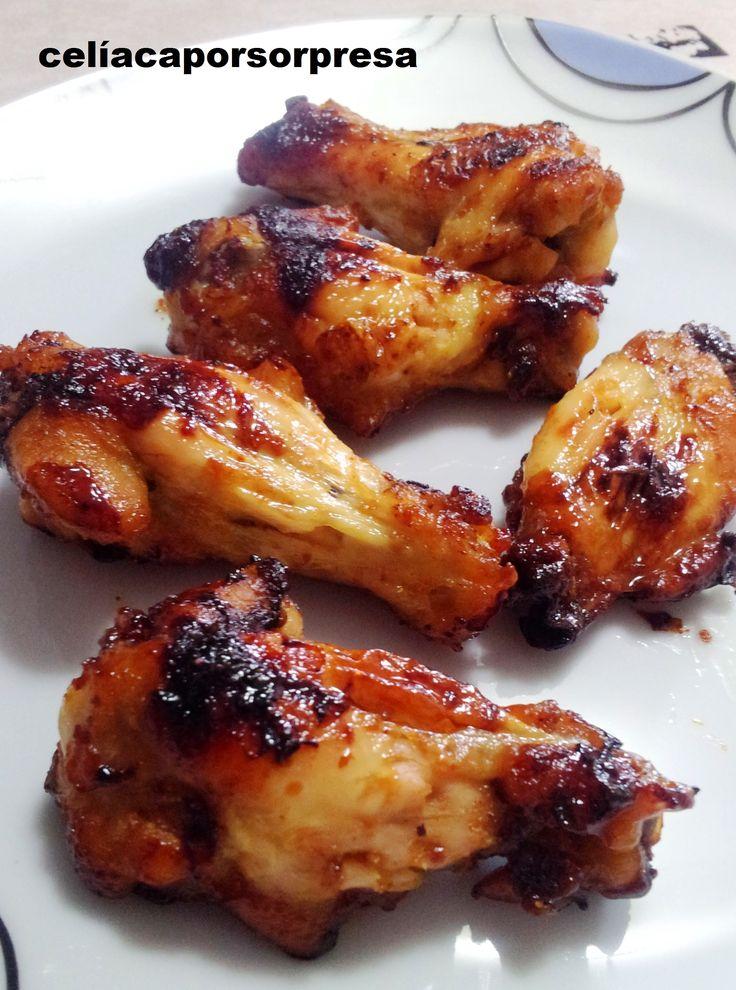 alitas de pollo con miel y mostaza (horno)