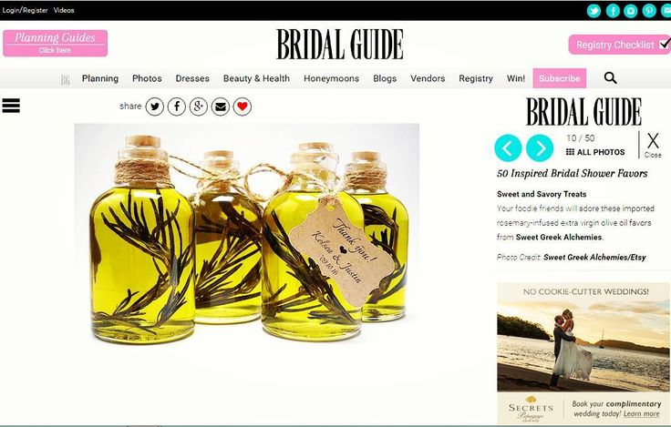 """Our Extra Virgin Olive Oil Favors are featured in bridalquide.com special titled """"50 Inspired Bridal Shower Favors""""   Find us on : Etsy.com/shop/SweetGreekAlchemies    #handmade #favors #wedding #weddingshower #bride #weddingfav #honeyfavors #bridalshower #babyshower #meanttobe #weddingfavors #weddingdecor #bridalparty #babyfavors #bridalguide #extravirginoliveoil #rosemary #party #weddingparty #bride #groom #bridesmaids #unforgettable #love #forever #weddingdress #marriage #weddingday"""