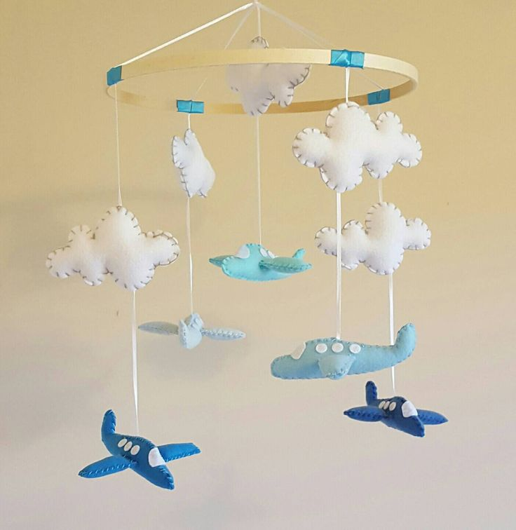 Airplane Baby Mobile - Blue - Aqua - Clouds - Travel Nursery - Vintage Inspired - Rustic - Baby Boy - Girl - Gender Neutral by GraceAnnBaby on Etsy https://www.etsy.com/ca/listing/475978771/airplane-baby-mobile-blue-aqua-clouds