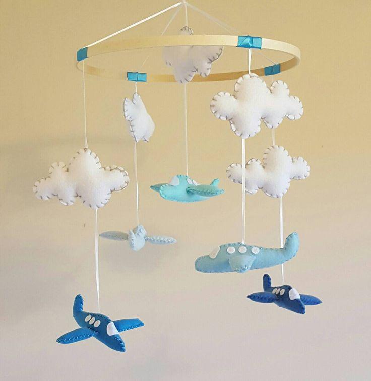 Airplane Baby Mobile - Blue - Aqua - Clouds - Travel Nursery - Vintage Inspired - Rustic - Baby Boy - Girl - Gender Neutral by GraceAnnBaby on Etsy https://www.etsy.com/ca/listing/475978771/airplane-baby-mobile-blue-aqua-clouds
