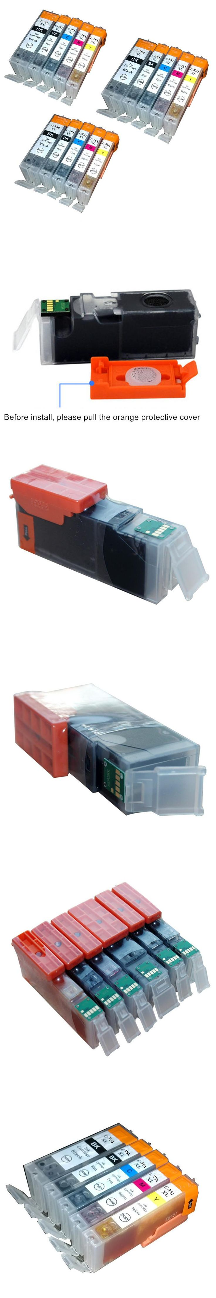 15PK Bulk Ink PGI 750 XL CLI 751 XL For Canon Ink Cartridge PIXMA MX727 MX927 Ip7270 IX6770 MG5570 IX6870 IP8770 MG6470 MG5470
