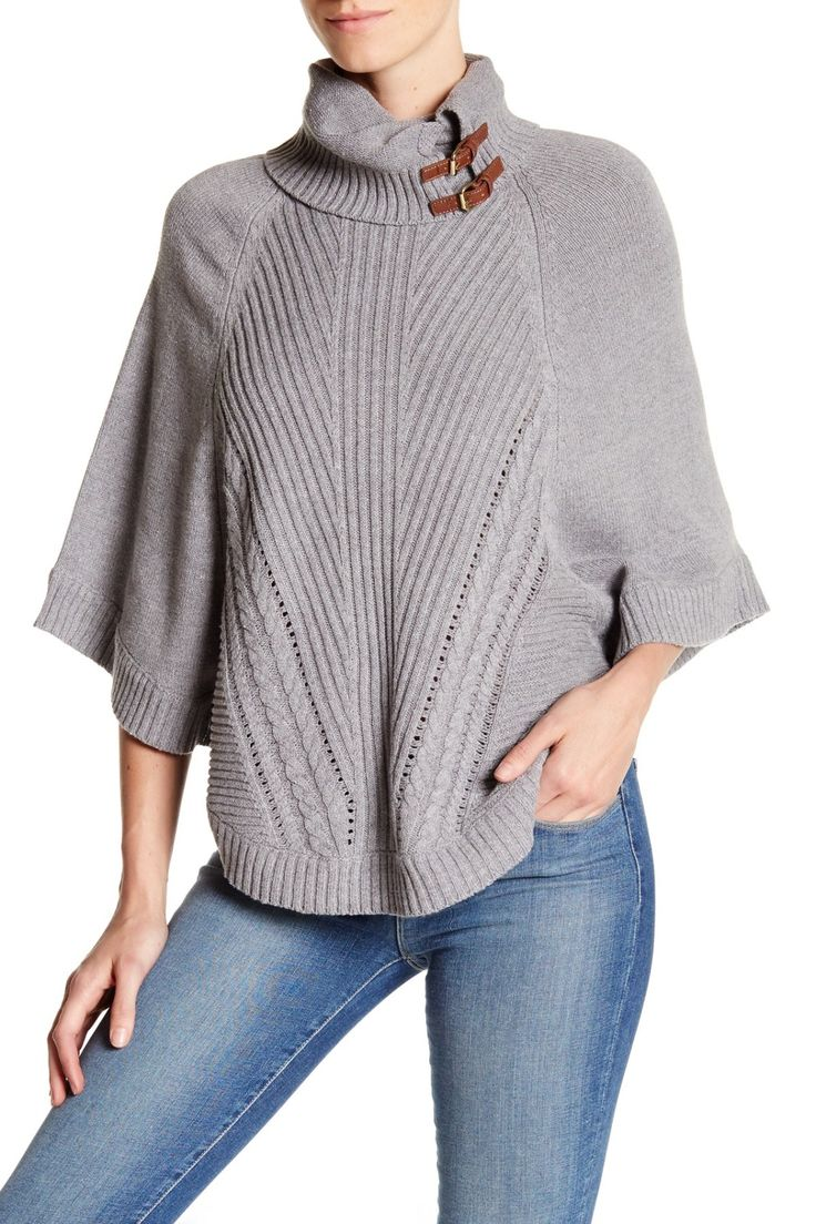Cullen Gray Knit Leather Poncho