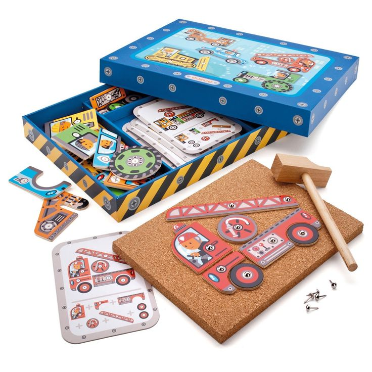 Djeco Tap Tap Vehicles Such a fabulous creative Tap Tap set. Includes cards, little tacks and all the colourful parts to create different vehicles onto the cork board. Lovely little mallet and presented in a box to keep it all safe. Excellent for hand and eye co-ordination.  23cm x 80cm x 4cm