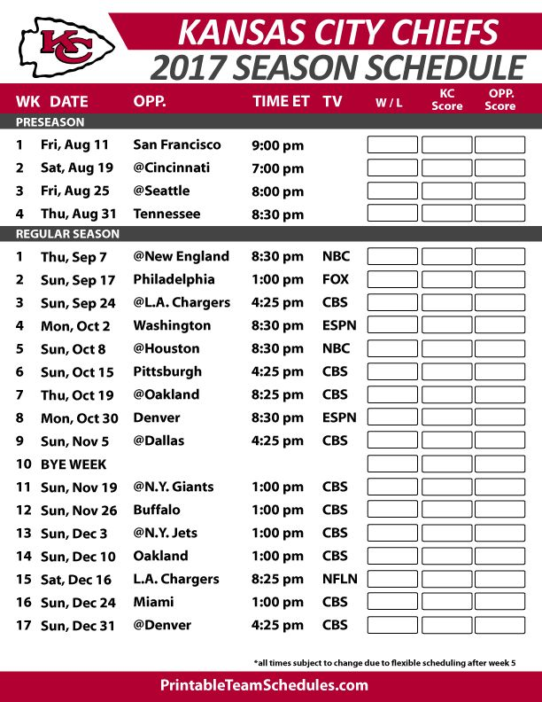 Kansas City Chiefs Football Schedule 2017