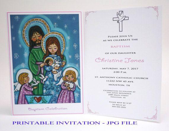 Girl christening invitation Girl baptism invitation girl Holy Family Baptism invites Christening invites Bautizo invitations Baptism card